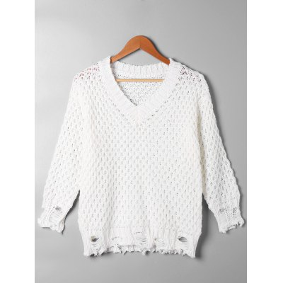 Buy OFF-WHITE L Open Knit Ripped V Neck Sweater for $25.39 in GearBest store