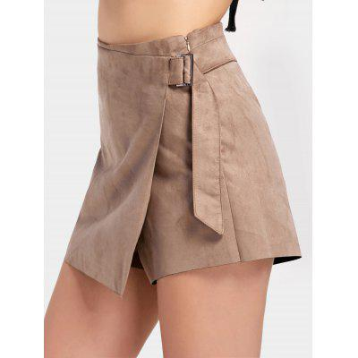 Buy KHAKI M High Waisted Faux Suede Skorts for $23.62 in GearBest store