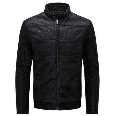 Graphic Stand Collar Motocycle Jacket