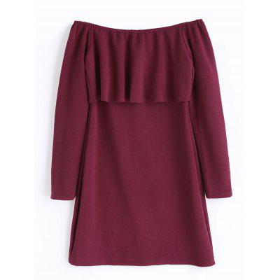 Buy WINE RED S Off The Shoulder Ruffle Long Sleeve Dress for $20.87 in GearBest store
