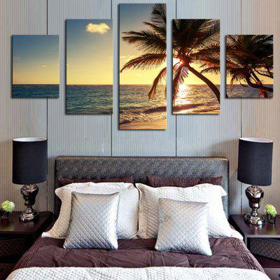 Sunset Coconut Tree Unframed Split Canvas PaintingsPrints<br>Sunset Coconut Tree Unframed Split Canvas Paintings<br><br>Features: Decorative<br>Form: Five Panels<br>Frame: No<br>Hang In/Stick On: Bedrooms,Hotels,Living Rooms,Offices,Stair<br>Material: Canvas<br>Package Contents: 1 x Canvas Painting (Set)<br>Shape: Horizontal<br>Style: Romantic, Fashion<br>Subjects: Romance,Seascape