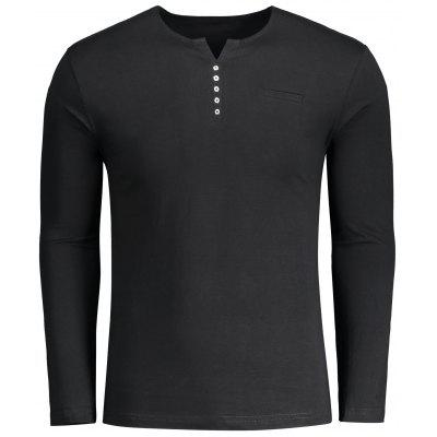 Mens Button Embellished Polo Tee