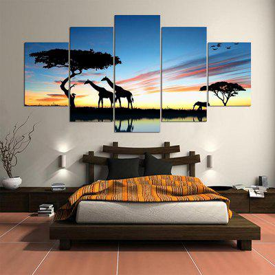 Unframed Split Giraffes Grassland Printed Canvas Paintings