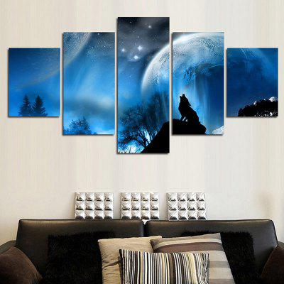 Night Sky Wolf Howl Split Canvas Wall Art Paintings
