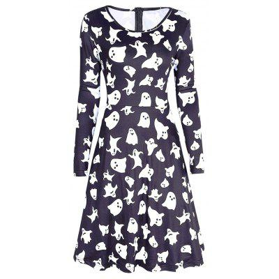 Long Sleeve Ghost Print Halloween Swing Dress
