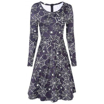 Spider Web Print Halloween Swing Dress