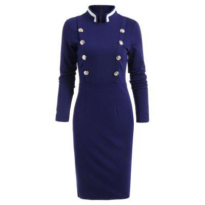 Double Breast Long Sleeve Vintage Pencil Dress