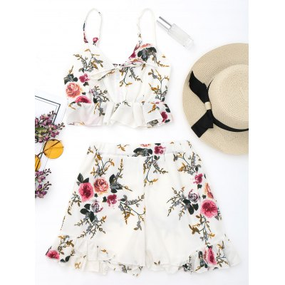 Floral Bralette Top and Ruffles High Waisted Shorts