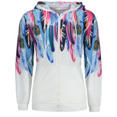 Buy WHITE XL Peacock Feather Printed Pocket Design Zippered Hoodie for $27.09 in GearBest store