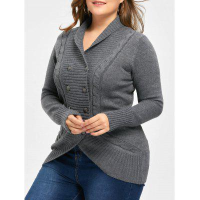 Plus Size Shawl Collar Double Breasted Cardigan