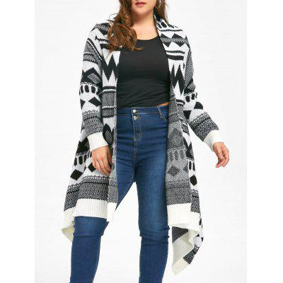 Plus Size Monochrome Geometric Cardigan