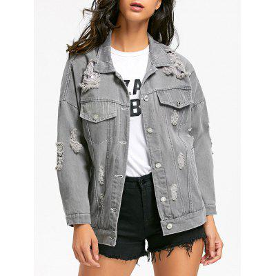 Stitching Distressed Denim Jacket