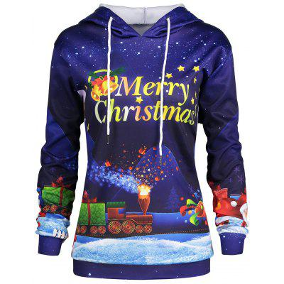 Plus Size Father Christmas Sky Printed Hoodie