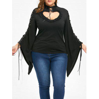 Halloween Plus Size Flounced Lace Up Keyhole Top