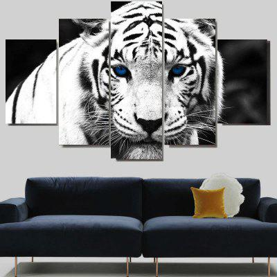 Stylish White Tiger Print Unframed Split Canvas Paintings