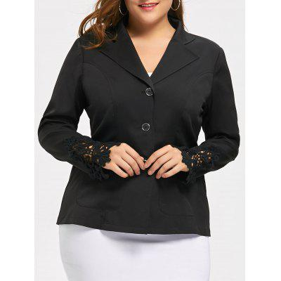 Crochet Panel Plus Size Lapel Blazer