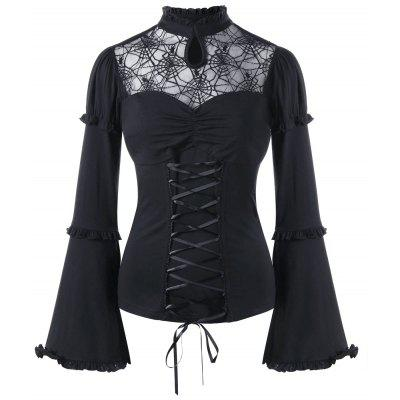 Halloween Sheer Ruffle Lace Up Top
