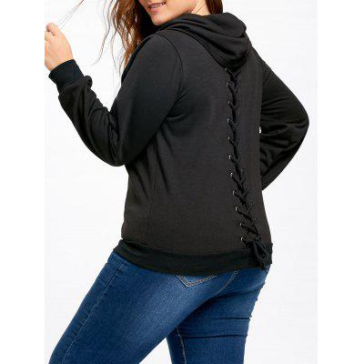 Plus Size Cowl Neck Back Lace Up Sweatshirt