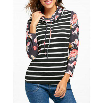 Long Sleeve Cowl Neck Floral and Striped Top