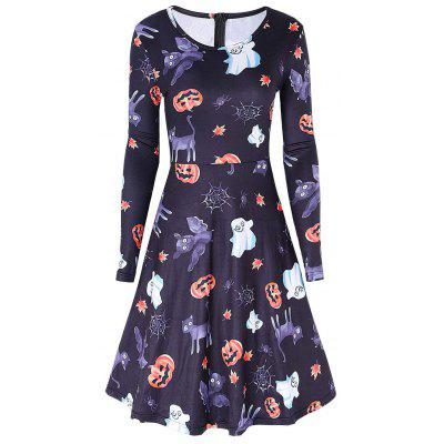 Pumpkin Ghost Print Halloween Swing Dress