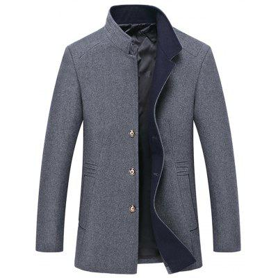 Купить Manteau en Laine Mélangée à Boutons à Col Mao, Men Casual Coat, Solid Color Coat, хлопок, зима