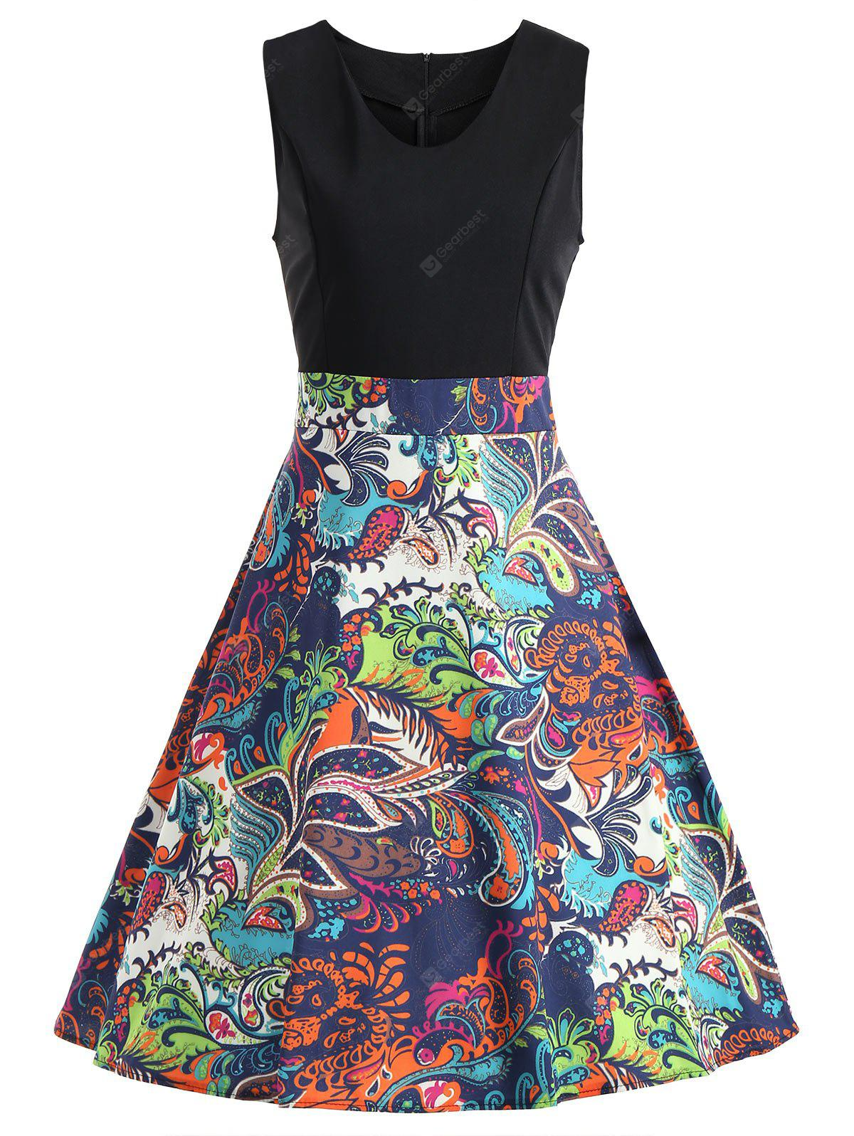 Vintage Tribal Print Swing Skater Dress
