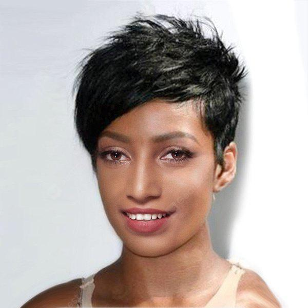 Ultra Short Side Bang Layered Straight Pixie Synthetic Wig