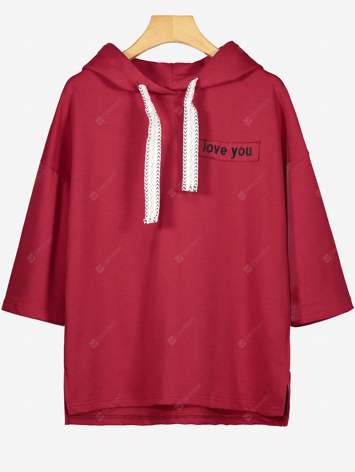 Letra Drawstring Patched Hoodie