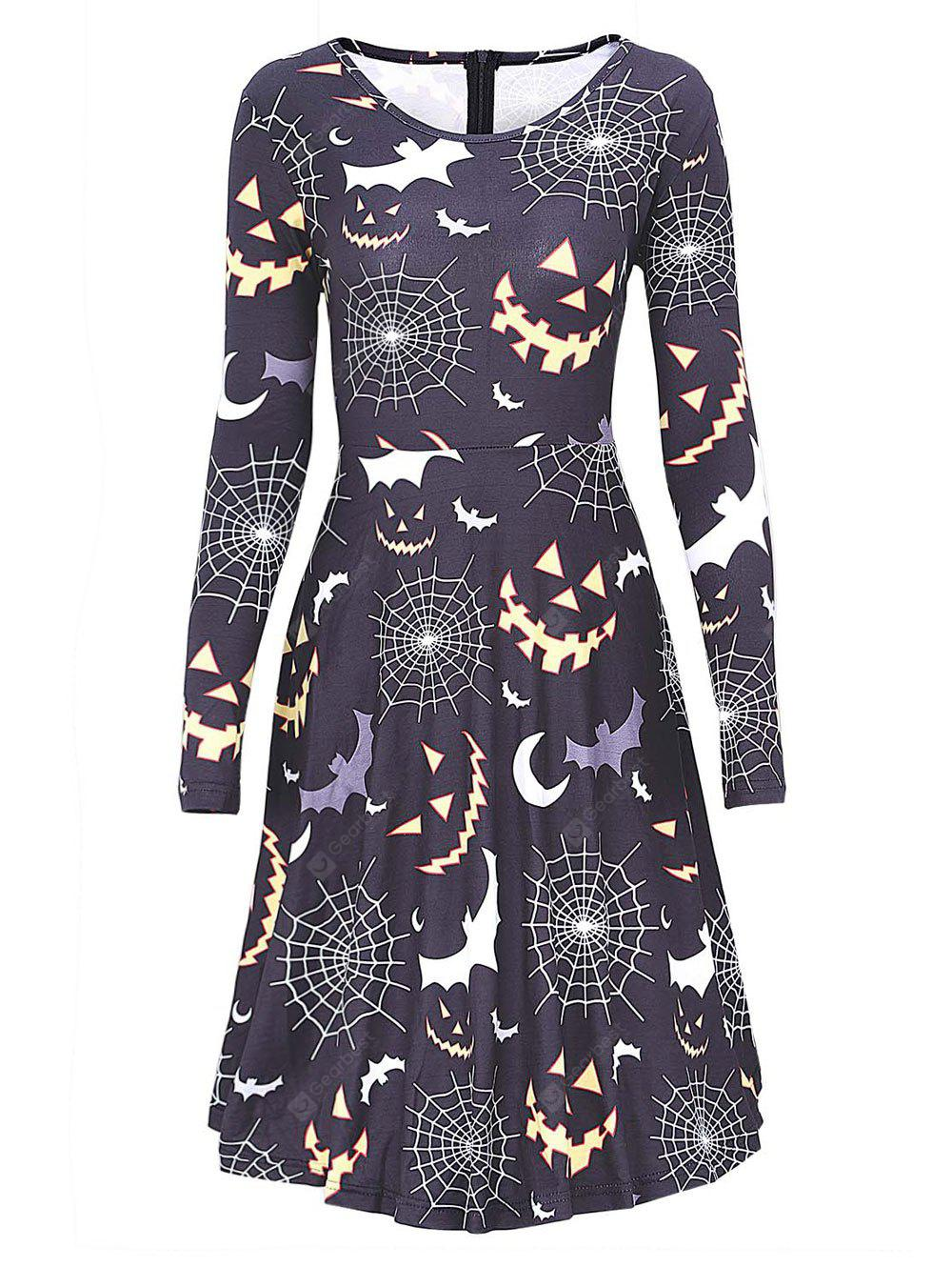 Bat Spider Web Print Halloween Swing Dress