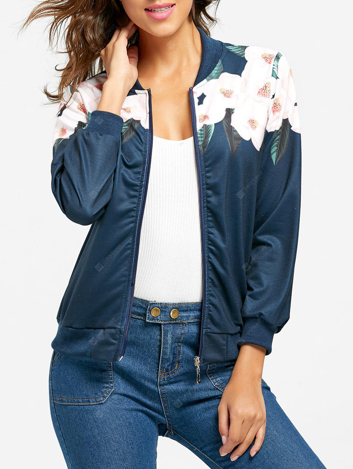 Flower Print Zip Up Jacket