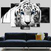 Stylish White Tiger Print Unframed Split Canvas Paintings - WHITE