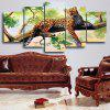 Leopard on The Tree Unframed Split Canvas Paintings - COLORIDO