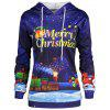 Plus Size Father Christmas Sky Printed Hoodie - BLUE