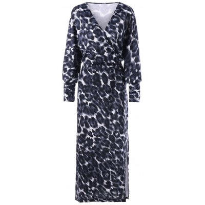 Buy BLACK LEOPARD PRINT XL Plus Size Leopard Side Slit Dress for $25.24 in GearBest store