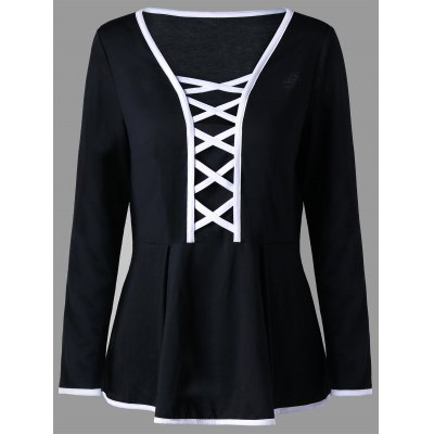 Plus Size Criss Cross Peplum Top