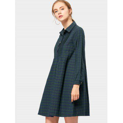 Flannel Plaid Smock Shirt Dress