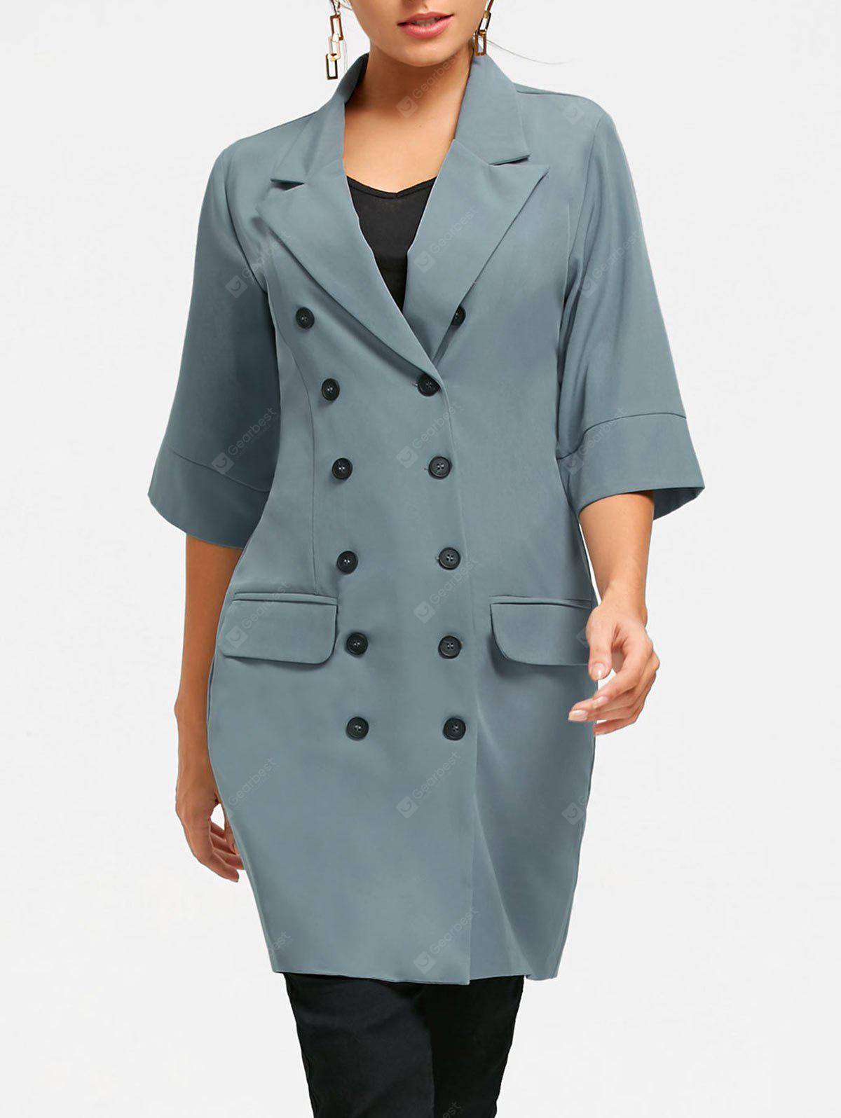 Three Quarter Sleeve Double Breasted Coat