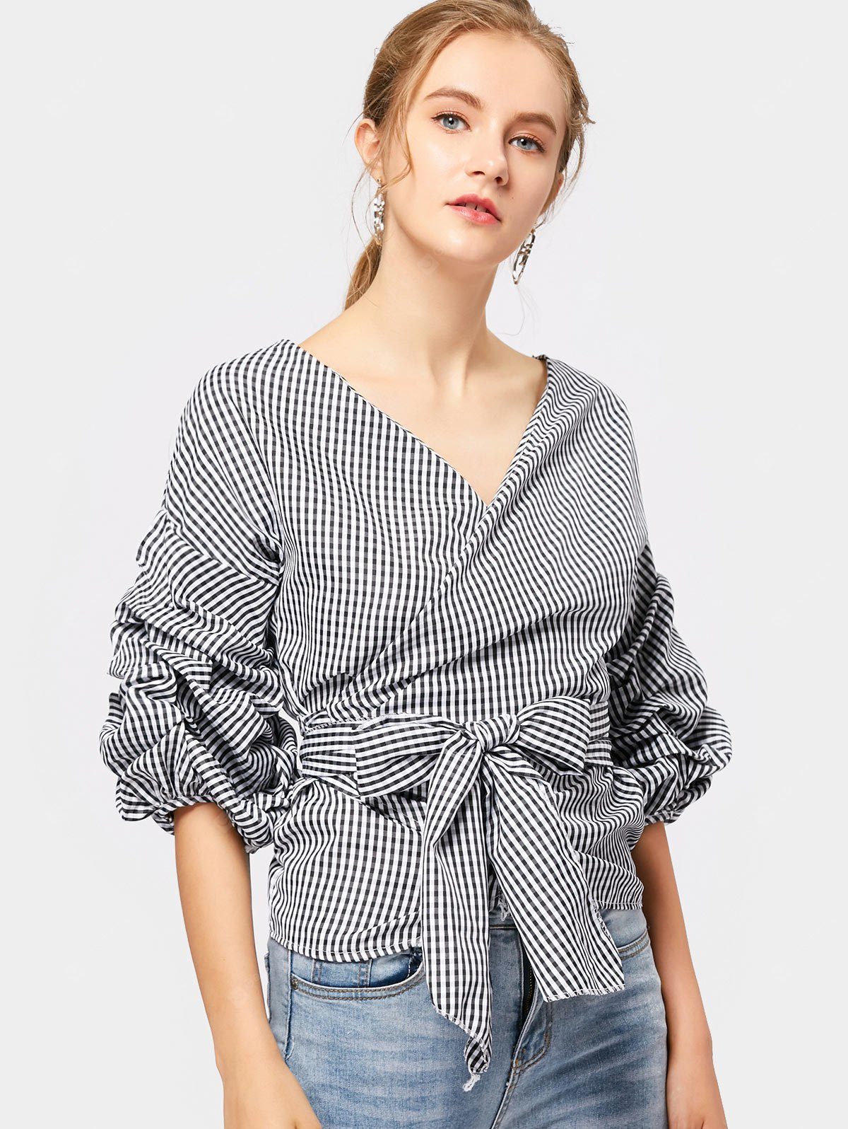 Checked V-Neck Ruched Wrap Blouse