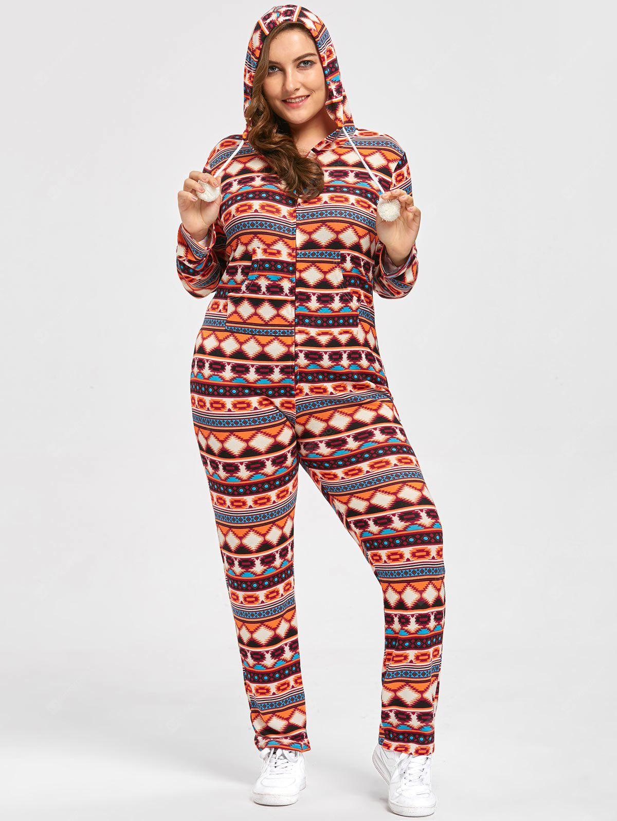 Plus Size Christmas Fair Isle Onesie Jumpsuit