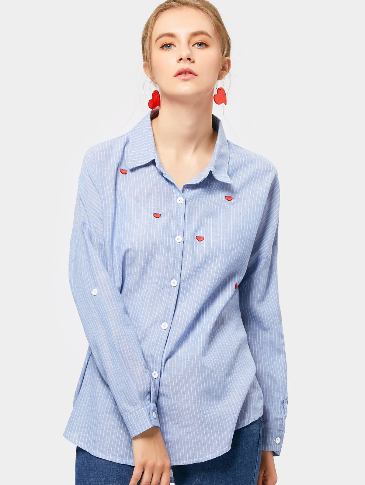 Striped Embroidered Linen Shirt