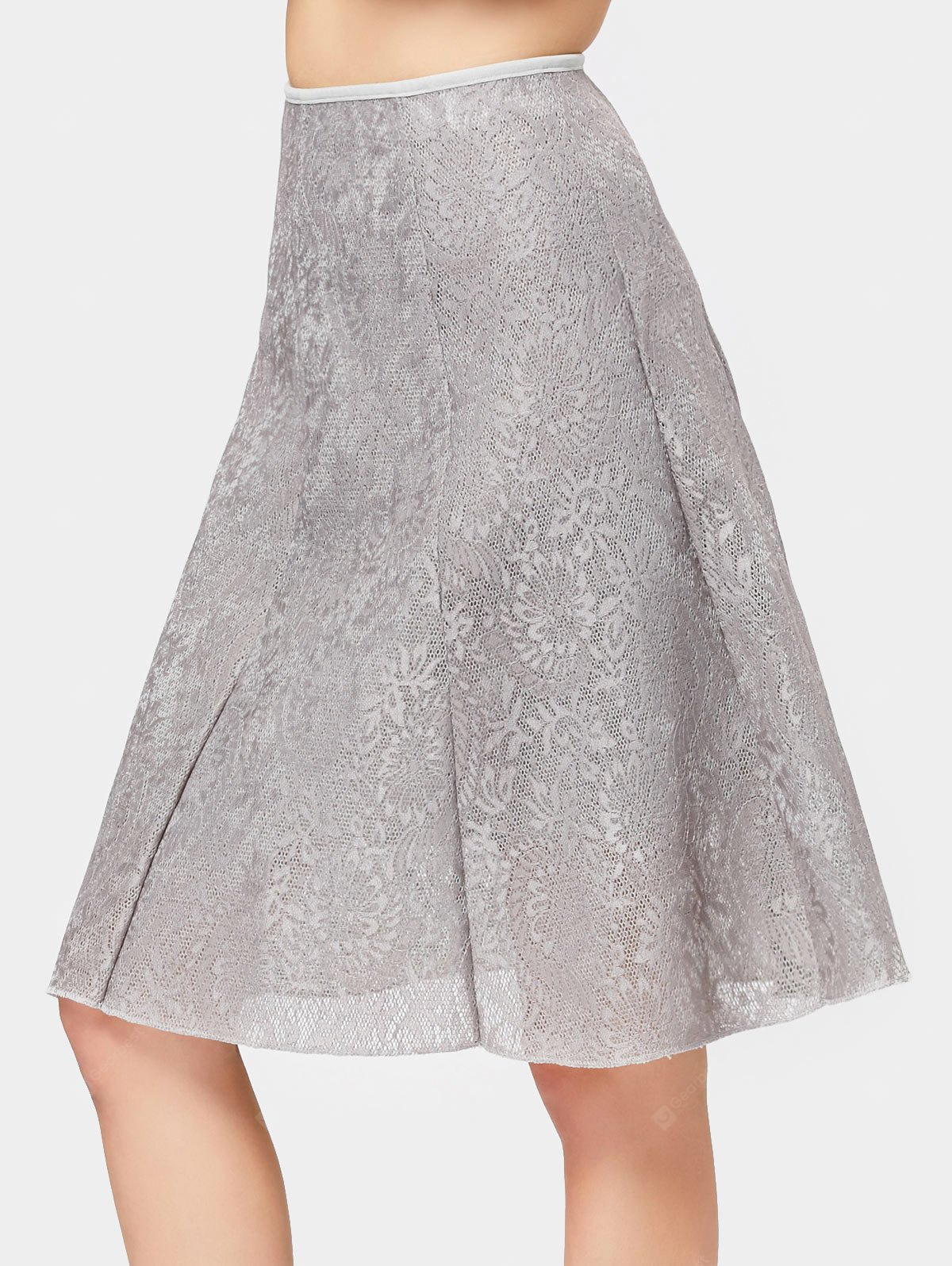 Lace Openwork Knee Length Skirt
