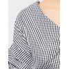 Checked V-Neck Ruched Wrap Blouse - CHECKED