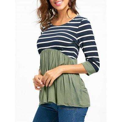 Striped Panel Casual Tunic Top