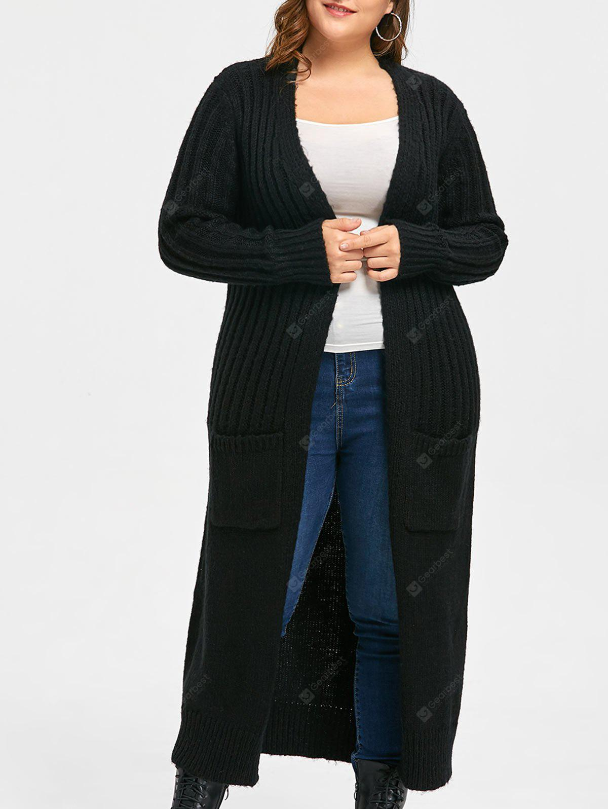 Plus Size Two Pockets Long Ribbed Collarless Cardigan