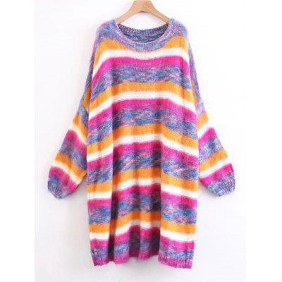 Fuzzy Colorful Stripes Pullover Sweater