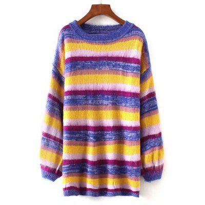 Oversized Stripes Longline Pullover Sweater