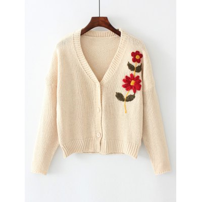 Floral Embroidered Button Up V Neck Cardigan