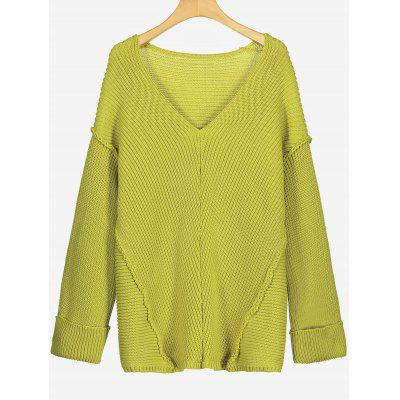 V Neck Pullover Drop Shoulder Sweater