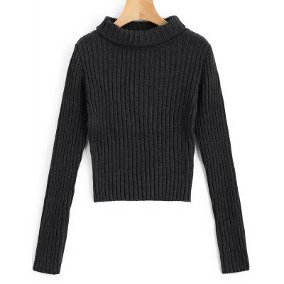 Buy DEEP GRAY M Pullover Ribbed Turtleneck Sweater for $28.35 in GearBest store