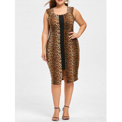 Buy BLACK LEOPARD PRINT 3XL Plus Size Leopard Sleeveless Dress for $22.40 in GearBest store